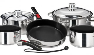 Magma Products Gourmet Nesting Stainless Steel Induction Cookware Set with Non-Stick Ceramica