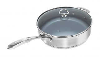 Chantal SLIN34-280C Induction 21 Steel Ceramic Coated Saute Skillet with Glass Tempered Lid, 5 quart