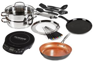 The Portable Induction Cooktop NuWave PIC Flex Starter Set Stainless Steel and Non-stick Cookware