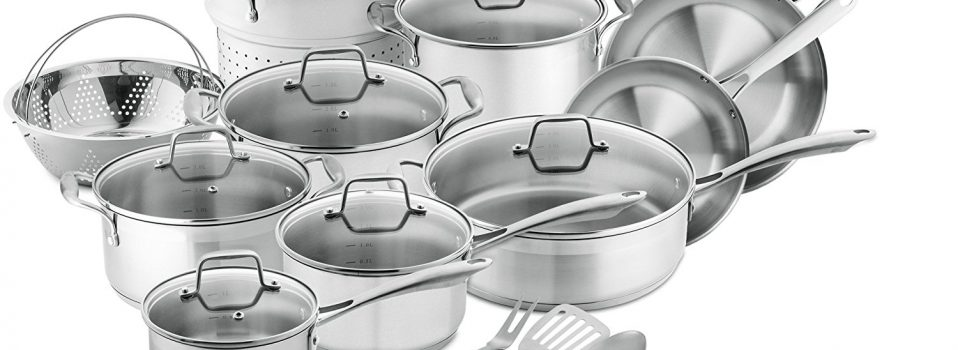 Professional Series Stainless Steel Cookware Set 17 Piece Cooking Set